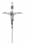 "Crucifix - 8"" All Silver Two-Tone Crucifix"