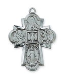 Pendant Pewter Antique Silver Four-Way Cross 24-in Chain