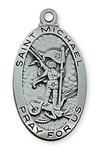 Pendant Pewter Antique Silver St. Michael 24-in Chain