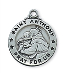 Pendant Pewter Antique Silver St. Anthony on 20-in Chain
