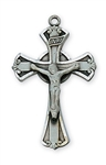 "Pendant Pewter Antique Silver Crucifix  1"" X 5/8"" on 18-in Chain"