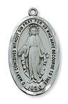 "Pendant Pewter Antique Silver Miraculous Medal 1 1/2"" X 1"" on 24-in Chain"