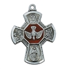 "Pendant Pewter Antique Silver Four-Way Enamel 1 1/4"" X 7/8"" on 24-in chain"