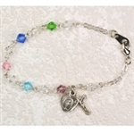Bracelet MultiColor Glass Beads Sterling Silver Medals 6.5""