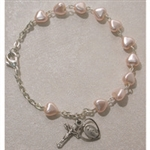 Bracelet Rosary Deluxe Pink Hearts 6.5""