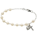 Bracelet Pewter 6mm Pearl 7.5""