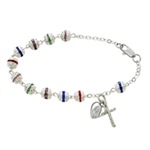 Bracelet Rosary Deluxe Multicolor Capped 7.5""
