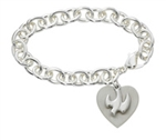 Bracelet w/ Engravable Heart & Dove 7.5""