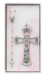 Cross Baby & Rosary Set Pink