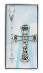 Cross Baby & Rosary Set Blue
