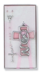 Boxed Cross & Rosary Pink Guardian