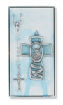 Boxed Cross & Rosary Blue Guardian Angel