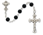 Rosary Black Glass Chalice Center Rhodium