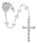 First Communion Rosary Pearl & Pink Heart with Chalice Charm