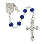 First Communion Rosary 6mm Blue Glass Bead with Chalice Charm