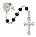 First Communion Rosary 6mm Black Glass Bead with Chalice Charm