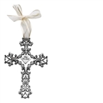 Cross Pewter Filigree 5-in Baby Whi