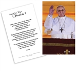 Laminated Holy Card Pope Francis on Balcony