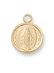 "Pendant Gold over Sterling Silver Miraculous Medal on 16"" Chain"