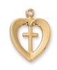 "Pendant Gold over Sterling Silver Heart/Cross 18"" Chain"