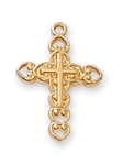 "Pendant Gold over Sterling Silver Cross 16"" Chain"