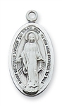 "Pendant Sterling Silver Miraculous Medal on 18"" Chain"
