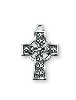 "PENDANT Sterling Silver CELTIC CROSS on 16"" CHAIN"