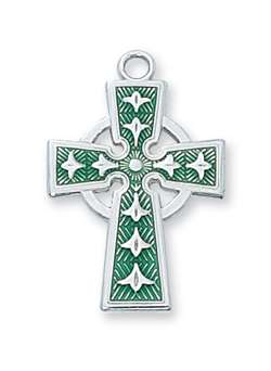 "PENDANT Sterling Silver Green Celtic Cross on 18"" Chain"