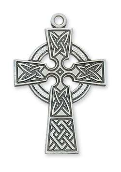"Pendant Sterling Silver CELTIC CROSS on 24"" Chain"