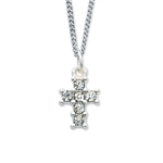 Pendant Rhinestone Cross w/ 16-in Chain