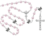 First Communion Rosary 5mm Pink Pearls with Butterflies