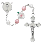 First Communion Rosary Pearl & Pink Flower with Chalice Center