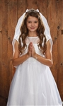 First Communion Veil - Crystal Tiara with Tulle Satin Pearl Crystal