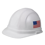 ERB White Omega II Hard Hat with American Flag Emblem