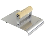 "Kraft 6"" x 8"" Stainless Steel Hand Edger/Groover 1/2""R 1/4""Bit with Wood Handle"