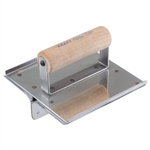 "Kraft 6"" x 6"" 1-1/2""D 1/4""R Stainless Steel Hand Groover with Wood Handle"
