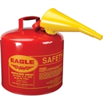 Eagle Type I 5-Gallon Safety Red Gas Can with Funnel