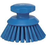 Vikan 3885, Vikan Round Scrub Brush- Stiff This round hand scrub brush is fully color-coded, and features a raised grip that helps keep your hands from touching surfaces and chemicals.