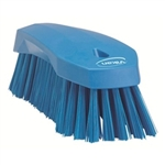 Vikan 3890, Vikan Hand Scrub Brush- Flared, Stiff This fully color-coded hand scrub brush has stiff angled bristles to scrub tables, conveyor, belts, cutting boards, buckets, and many other types of equipment.