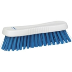 Vikan 3893, Vikan Resin Set Hand Scrub- Stiff This multi-purpose scrub brush has angled bristles to clean hard to reach corners. Polyester bristles are affixed to a solid polypropylene block with resin