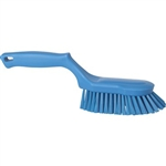 Vikan 4169, Vikan Ergonomic Hand Brush This brush with stiff bristles is fully color-coded and is great for scrubbing tables and equipment. The angled bristles allow you to easily clean in corners.