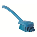 Vikan 4182, Vikan Long-handled churn brush, medium bristles The long handled wash brush allows you to reach into parts of equipment that are hard to access. The angled bristles are medium, creating a washing action.