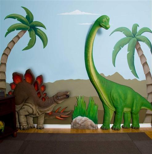 Beetling brachiosaurus dinosaur 3d wall art decor for Dinosaur wall mural