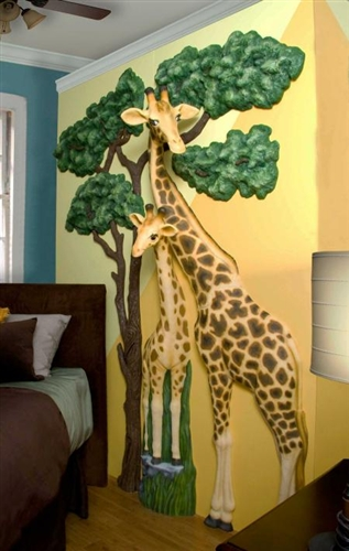 Beetling Giraffe African Safari 3d Wall Art Decor