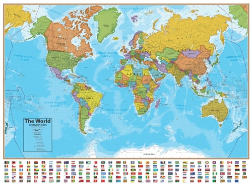 World map with flags laminated 51 12 x 37 12 gumiabroncs Choice Image