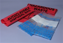 "MTC BIO Clear Autoclave Bags, Biohazard Marked 24"" x 32"" 200pc"