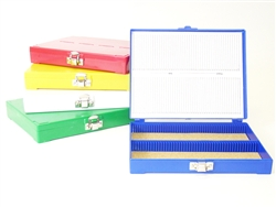 100 Capacity ABS Microscope Slide Box - Blue, Case of 50 Boxes