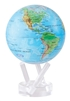 "Mova 6"" Solar Spinning Globe Blue with Relief Map"