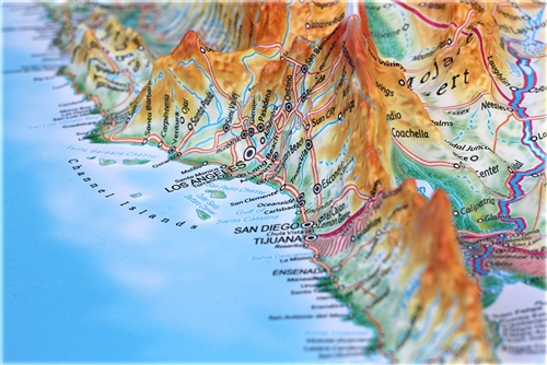 Raised Relief World Map.High Raised Relief Panorama Map Of The Usa