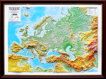 Raised Relief Maps High Raised Relief Panorama Map of Europe